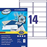 EUROPE 100 - Caja de 1400 etiquetas autoadhesivas multiusos, 99,1 x 38,1 mm, compatibles con Laser, inyección de tinta y copiadora