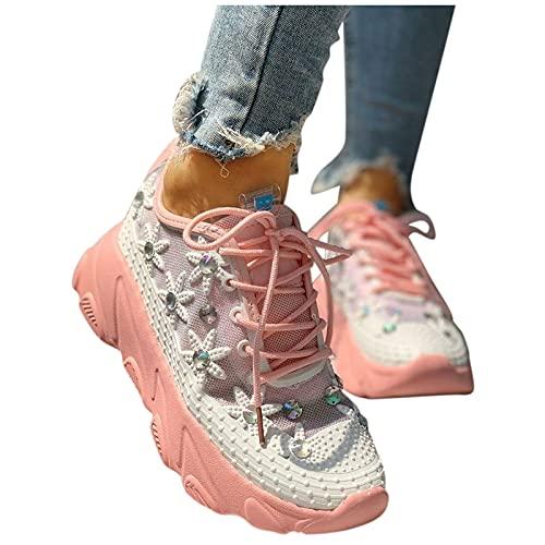 Briskorry Damen Plateau Sneaker Bequeme Netz Laufschuhe mit Keilabsatz Atmungsaktive Strass Glänzend Slippers Freizeitschuhe Leichte Schnüren Flache Schuhe Hohle Loafer Fitness Laufen Sportschuhe