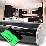 (1,98 €/m²) 10 m Lámina para Trazar Plotter Film Película Adhesiva Hoja de Muebles Brillante Escobilla de Goma Incluida (Negro, alto brillo)