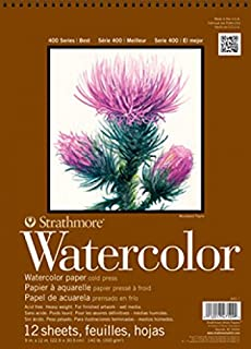 """Strathmore P440-12 Watercolor Pad, 6""""x12"""" Wire Bound, 12 Sheets"""