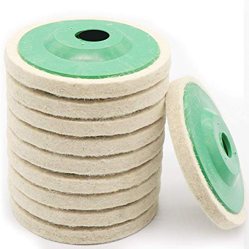 10 Pack 4 Inch Round Wool Felt Disc Wheel Pad, for 100 Angle Grinder, Buffing Polishing Buffer Bore Dia-White & Green