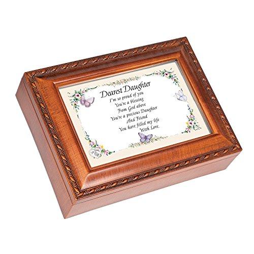 Cottage Garden Dearest Daughter Woodgrain Music Musical Jewelry Box Plays Light Up My Life