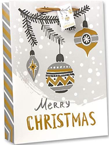 Bambelaa! 12 Stück Merry Christmas Geschenktüten Weihnachten Geschenktaschen Groß Papiertüten Weihnachtstüten 157 g Papier Gold Silber Weiß Matt (Ca. 25x8,5x34 cm)