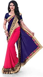 5d9f3d97fd I-Brand Women Georgette Fabric Blue, Pink Saree With Unstitched Georgette  Blouse (ISUNS3189_Blue