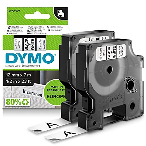 DYMO D1 etiquetas auténticas, impresión negra sobre fondo blanco, 12mmנ7m, etiquetas autoadhesivas para impresoras de etiquetas LabelManager, 2unidades