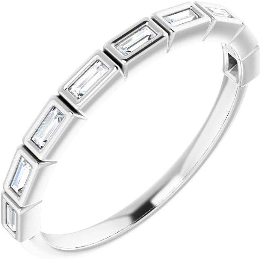 Solid Platinum 1/6 Cttw Diamond Wedding Band Anniversary Ring (Width = 2.5mm)