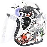 ZHXH Retro Harley Casco/dot certificazione/harley Mezzo casco da moto con visiera Uv Casco scooter uomo e donna estivo M, L, Xl, Xxl