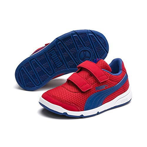PUMA Baby Stepfleex Velcro Sneaker, High Risk Red-Galaxy Blue White, 4 M US  Toddler