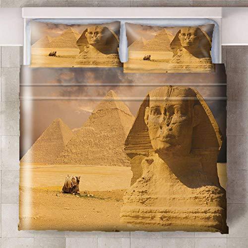 Teqoasiy - 3D Modelo De La Impresión Amarillo Desierto Arquitectura Paisaje 229x229cm Duvet Cover Set - Suave Microfibra 3Piece El Sistema Del Lecho Funda Nórdica - Suave Hipoalergénica Con 2 Fundas D