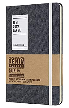 Moleskine Limited Edition Denim Collection 18 Month 2018-2019 Weekly Planner Hard Cover Large  5  x 8.25   Black