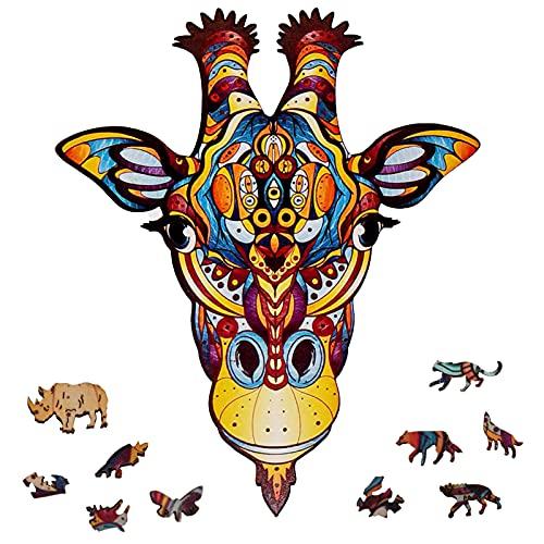 FORMIZON Puzzle a Forma di Animali, Animali Puzzle in Legno, Pezzi di Puzzle di Forma Unica, Puzzle Animali Colorati 3D, Wooden Puzzle Animal per la Decorazione della Casa Miglior Regalo