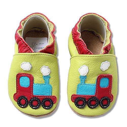 HOBEA-Germany Krabbelschuhe für Jungs und Mädchen in verschiedenen Designs, Kinderhausschuhe Jungen, Lederschuhe, Schuhgröße:26/27 (30-36 Monate), Modell Schuhe:Lokomotive grün