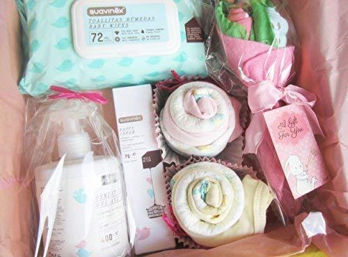 MAXI Canastilla SUAVINEX para Bebés   TODO es de MARCA, 100% ALGODÓN, de Talla 1-6 meses   Baby Shower Gift Idea   Idea Regalo para Gemelas o para un MAXI Regalo a una Bebé!   Versión Rosa, Para Niñas