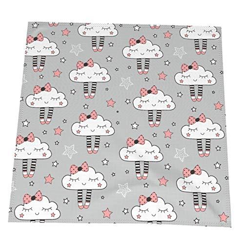 Ye Hua Wolkenmuster Graue Tischsets Abwischen für den Esstisch Hitzebeständig und Polyester 19,6 x 19,6 Zoll 4er-Set