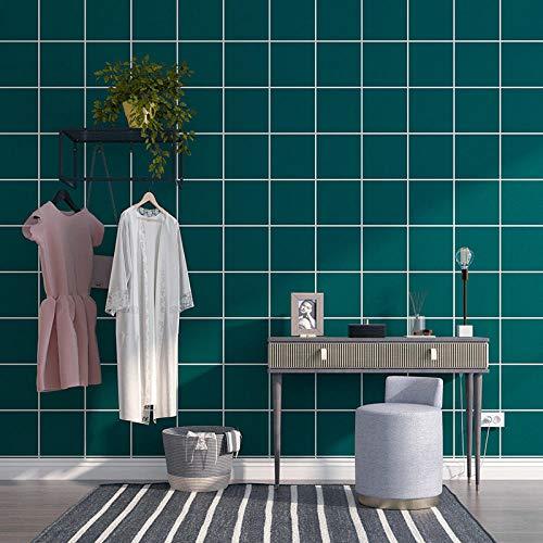 Fondo De Pantalla 3D Rejilla Verde Dormitorio Cocina Salon Pared De Fondo Decoración Comedor Hotel Oficina Tienda De Ropa Pvc Sin Pegamento 0.53 * 9.5 M