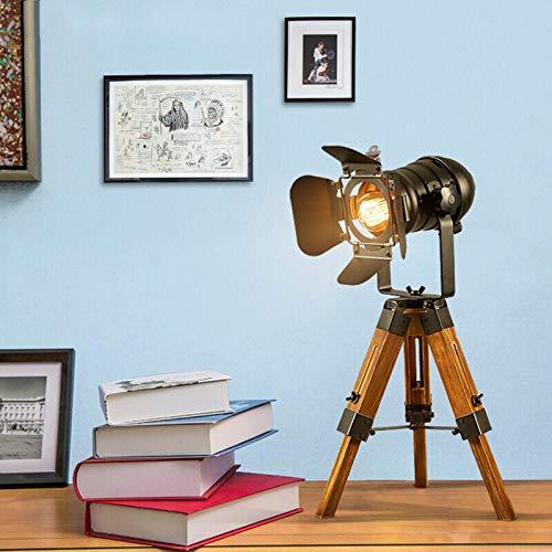 Zephyri - Lámpara de mesa con trípode retro, lámpara de mesa, lámpara de mesita de noche, vintage, ajustable