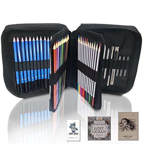 CRAZCALF 74ピース色鉛筆 お絵かきセット 水性ペン 紙ペン スケッチ鉛筆 収納ケース 子供用 初心者知育教育
