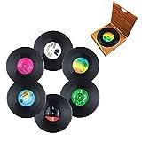 Miaoo 6pcs retro CD record di vinile sottobicchieri drink Cup Mat...