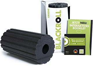 BLACKROLL Groove Black Foam Roller (Medium Density), The Original, Durable Fascia Roller, Structured Surface, Fast Rolling Causes Vibration Effects, 30 cm, Black