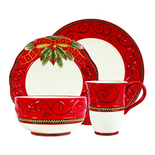 Fitz and Floyd Damask Holiday Place Setting, Standard, Multicolored