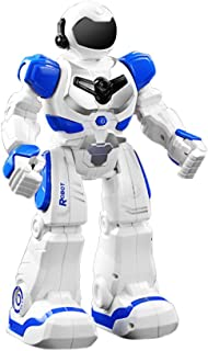 Robot Toy Gesture Sensor Infrared Control Intelligent Combat RC Dancing Robot Toy with Fire Fighting Robot (Blue)