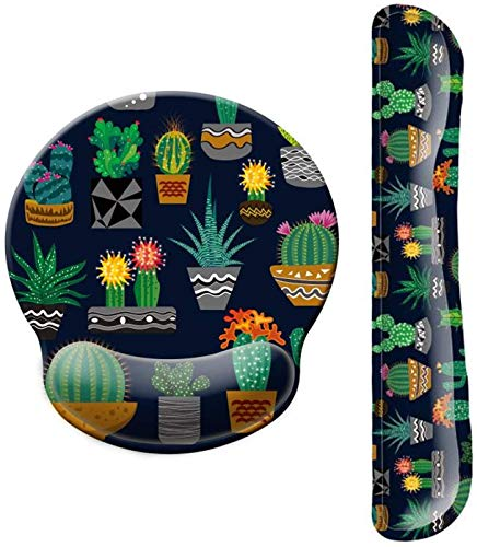 Dooke Keyboard Wrist Rest Pad and Mouse Wrist Rest Support, Comfort Wrist Rest Pad with Non-Slip Rubber Base & Memory Foam Support for Working Gaming Fatigue Pain Relief Potted Cactus