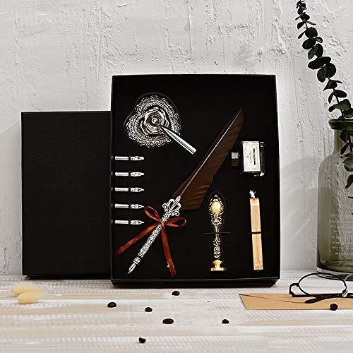 DHTOMC Pluma estilográfica de alta gama, pluma de caligrafía, con 5 plumas, para plumas, papelería, tinta LCMUS (color: marrón, tamaño: gratis)