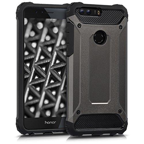 kwmobile Hülle kompatibel mit Huawei Honor 8 / Honor 8 Premium - Hybrid Handy Cover Handyhülle Case Schutzhülle Transformer Anthrazit Schwarz