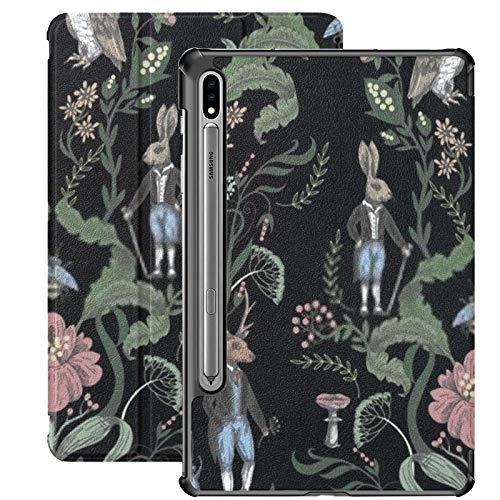 Funda Galaxy Tablet S7 Plus de 12,4 Pulgadas 2020 con Soporte para bolígrafo S, gráfico de Cuento de Hadas, patrón sin Costuras, Animales del Bosque, Funda Protectora Delgada con Soporte para Samsung