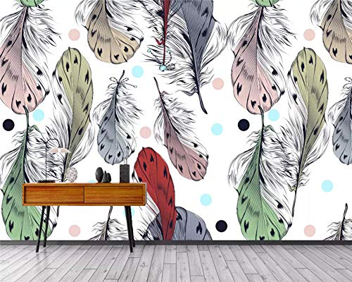 Custom Modern 3D Wallpaper Nordic Hand Drawn Art Feather Decoration Background Papel de Parede Wall Papers Home Decor Speedcoming x1131-200x140cm/79'x 55'