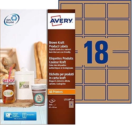Avery España L7110-20. Caja de 360 etiquetas efecto cartón multifunción, 62x42mm: Amazon.es: Oficina y papelería