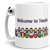 WM-Tasse Welcome to Russia Passend zur Fussball-Weltmeisterschaft 2018 in Russland - Fussball-Tasse/Cup/Mug/Kaffeetasse - Qualität Made in Germany
