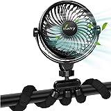 Mini Ventilador Portátil, Ventilador de Cochecito Alimentado por Batería/USB, Ventilador con Trípode flexible y Función de Aromaterapia, Flujo de Aire Fuerte y Silencioso, 360° Ajustable 4 Velocidades