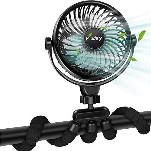 Vsadey Ventilatore da Tavolo Mano, 5200mAh Ricaricabile Batteria e Ventilatore da USB con Treppiede Flessibile, Ultra Silenzioso 4 Velocità 360 ° Ruotabile per la Casa Ufficio per Viaggi Esterno