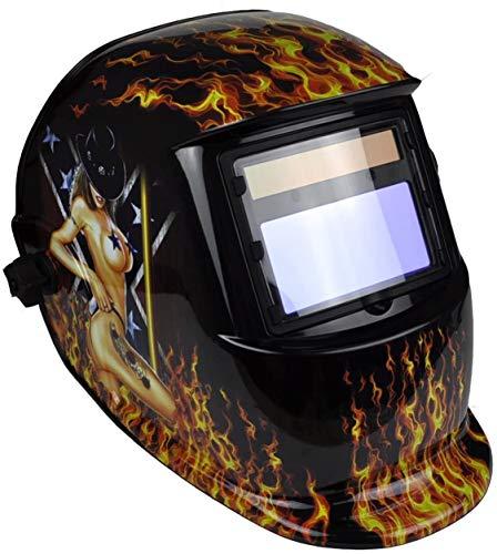 Large View, Solar & Battery Powered, DIN9~13 Shade, Auto Darking + Grinding Function Welding Helmet {Lightening} Mask Safety Gear