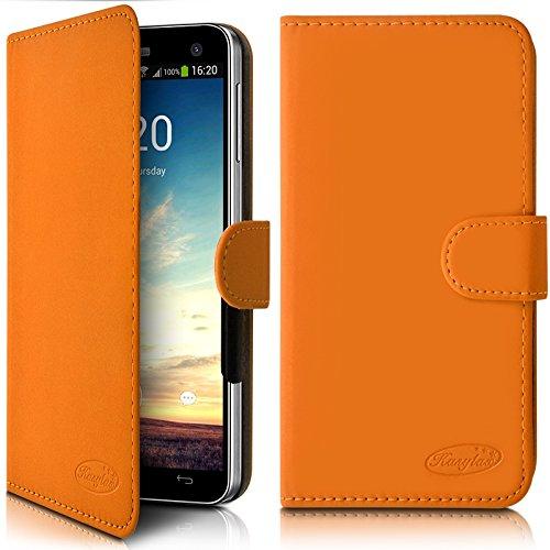 Seluxion - Funda tipo cartera universal para Hisense F20, color naranja