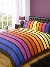 Soho Multi Stripe Duvet Cover Quilt Bedding Set, Blue Purple Orange Yellow Green, Single Size - Bedroom Bed Linen by Rapport