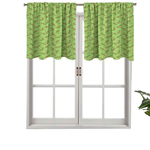 Hiiiman - Juego de 1 cortina para ventana con bolsillo para barra de instrumentos de saxofón sobre fondo verde orches, 127 x 45,7 cm para ventana de cocina