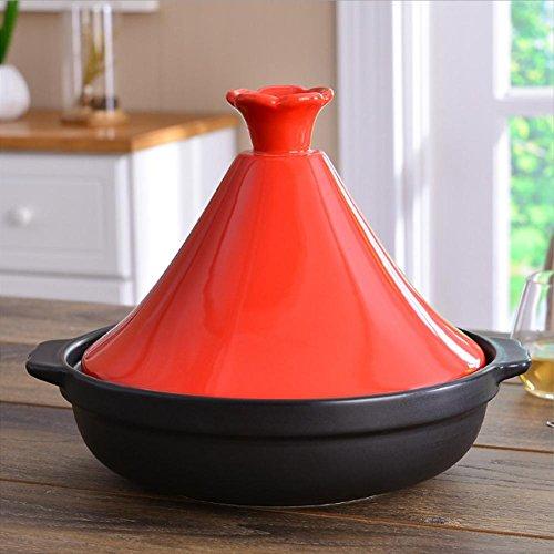 LXZ Tajine En Fonte Avec Couvercle En Céramique Couleur De ?26 Cm , Red
