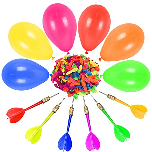 FORMIZON 6 Stück Dartpfeile Pfeile 500 Stück Ballon Spiel Set, Latex Ballon Dartspiel, Spiele Dart Pfeile Luftballons für für Kinderparty, Zirkusdekorationen, Karneval, Geburtstagsparty