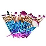 Lurrose 20 Piezas Cepillos de Maquillaje Profesional Brochas de Maquillaje de Pinceles Maquillaje Portátil para Viaje Herramientas Cosméticas
