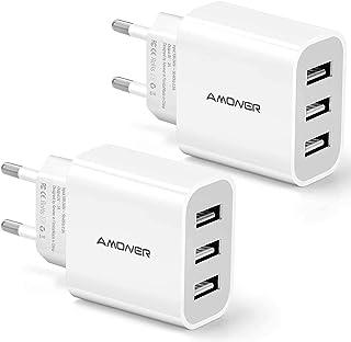 Amoner USB-laddare 2 stycken 3-port 3A laddadapter för iPhone X/8/8 Plus, Galaxy S9/S9 Plus/S8/S8 Plus/Note, iPad, Sony, H...