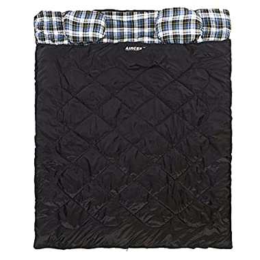 Aircee Double 2 Person Queen Size Flannel Liner Double Sleeping Bag With Pillows 15 Degrees (Black)