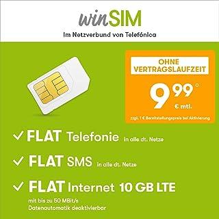 WinSIM LTE All 10 GB bez umowy (FLAT Internet 10 GB LTE maks. 50 Mbit/s z dezaktywowalnym automatyką danych, telefon FLAT ...