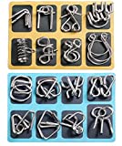 16 PCS Type A+B Different Brain Teaser Metal Wire Puzzles IQ Challenge Magic Trick Unlinking & Linking Game Toys for Kids and Adults