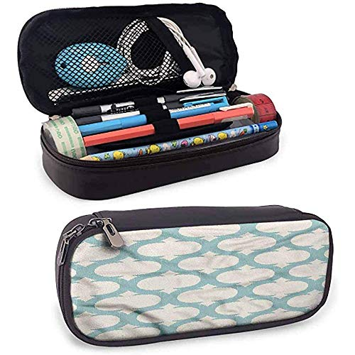 Aqua Leather Pen Case, Mesh Arabisch kurvige Figuren