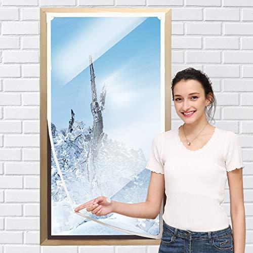Fenster-Isolierungs-Set – strapazierfähige Fenster-Isolierfolie mit Magnetstreifen, Größe bis zu 139,7 x 91,4 cm, warm im Winter und kühl im Sommer