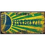 Vintage brésil voiture numéro affiche plaque d'immatriculation ville populaire brésil drapeau National rétro étain signes décor à la maison 15x30 cm bourgogne