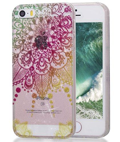 iPhone 55S se móvil, mkoawa sintética gemaltes Cristal Bling Brillante indescriptible brillante transparente TPU Silicona Funda Protección Funda Funda Bumper Carcasa para Apple iPhone 55S se