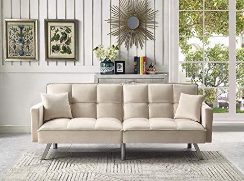 Legend Furniture Comfortable Velvet Sleeper Sofa Bed Sofabed, Cream